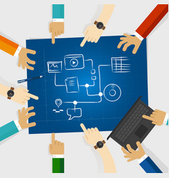 Team create plan for social media and digital vector