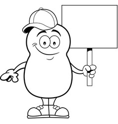 Cartoon potato holding a sign vector