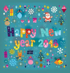 Happy new year 2018 retro greeting card vector