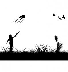 kids flying kite vector image