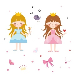 Collection of pretty princesses vector