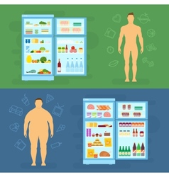 Healthy Lifestyle Flat Card or Infographic vector image