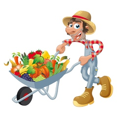 Peasant with wheelbarrow vegetables and fruits vector