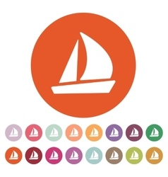 The sailboat icon sailing ship symbol flat vector