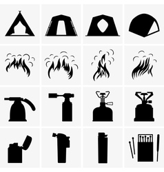 Tents bonfires torches and lighters vector