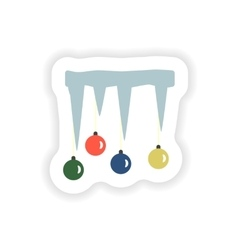 Stylish paper sticker on white background icicles vector