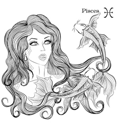 Astrological sign of pisces as a beautiful girl vector
