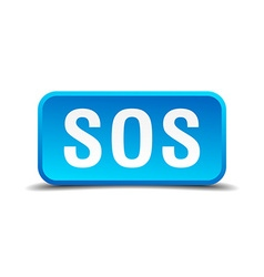 Sos blue 3d realistic square isolated button vector image