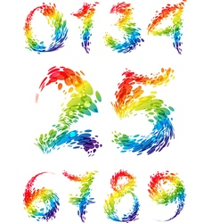 Numbers multicolored set splash vector