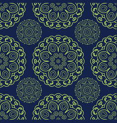 Blue and green seamless doodle pattern ethnic vector