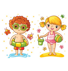 Boy and girl on the beach vector