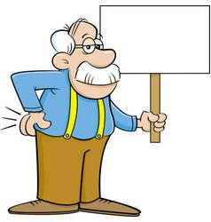 Cartoon old man holding a sign vector