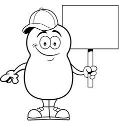 cartoon potato holding a sign vector image vector image