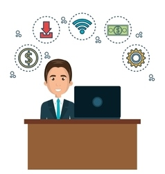 Character man on desk and laptop with icon media vector
