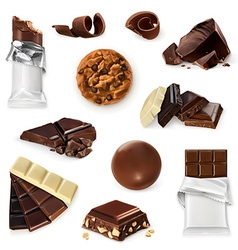 Chocolate icon set Different kinds of cacao vector image vector image