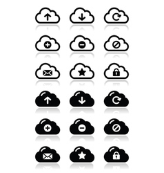 Cloud icons set for web vector image vector image