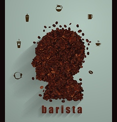 Coffee head concept as a symbol for a barista vector