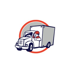 Delivery Van Driver Thumbs Up Circle Cartoon vector image