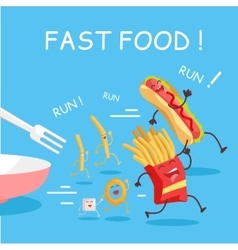 Fast Food Cartoon Characters Banner vector image