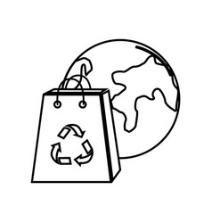 Figure planet and bag to recycle environment vector