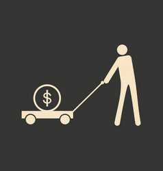Flat black white man and dollar in cart vector