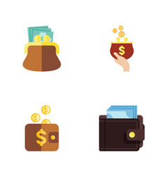 flat icon purse set of payment pouch billfold vector image