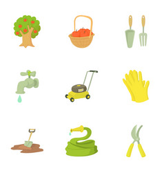 Garden maintenance icons set cartoon style vector