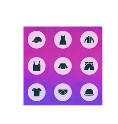 Garment icons set collection of singlet panama vector