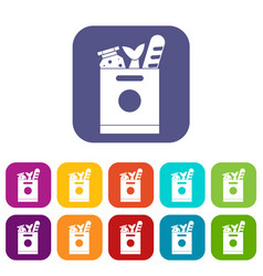 Grocery bag with food icons set vector