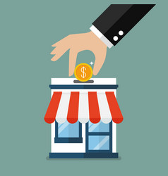 Hand collect the money in shop store vector