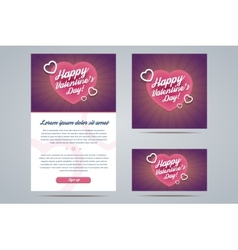 Happy Valentines Day Email Template vector image vector image