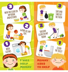 Kids cleaning banners vector