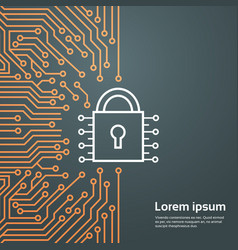 Lock network data protection system concept banner vector