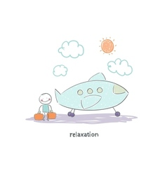 Man flying on holiday by plane vector image