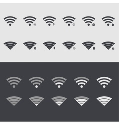 Modern wi fi set icons web element design vector