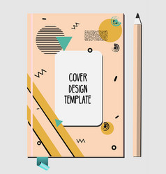 notepad book cover design template with abstract vector image