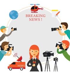 Reporter photographer cameraman news report vector