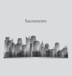 sacramento city skyline silhouette in grayscale vector image vector image