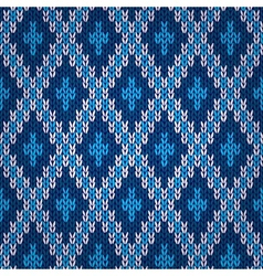 Seamless Blue Knitted Pattern vector image vector image