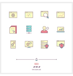 SEO Line Icons Set vector image vector image