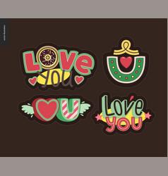 Set of contemporary girlie love you letter logo vector