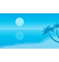 Silhouette of beach and reflection vector image vector image