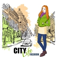 Sketch fashion city street poster vector