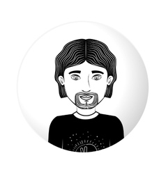 Sphere half body guy with van dyke beard vector