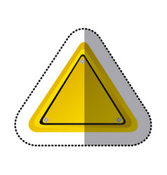 Sticker yellow triangle shape traffic sign icon vector