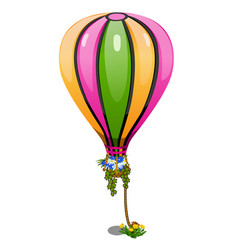 Striped hot air balloon with basket of flowers vector
