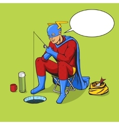 Superhero on ice fishing comic book vector