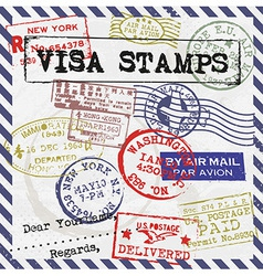 Various visa stamps background vector