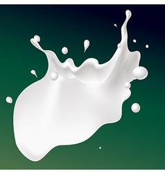 White splash milk on dark green background vector