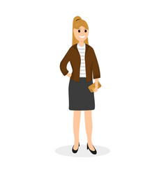 Woman with clutch bag on a white background vector